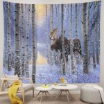 Moose Tapestry Forest Snow Winter Wall Art Hanging