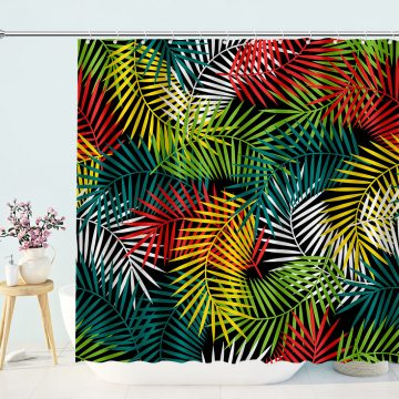 Multicolored Tropical Leaf Shower Curtain