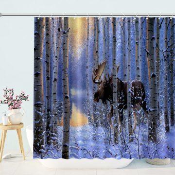 Northern Hardwood Forest Moose Shower Curtain