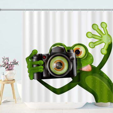 Photographer Frog Shower Curtain