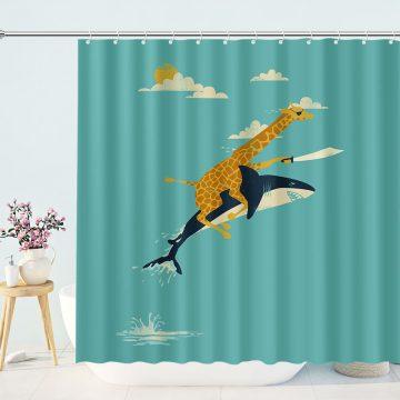 Pirate Giraffe Rides A Shark Shower Curtain