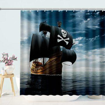 Pirate Ship Nautical Shower Curtain