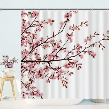 Plum Flower Prints Shower Curtains