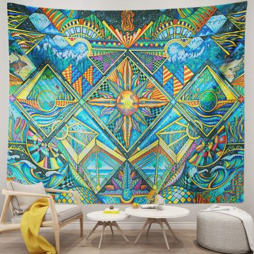Psychedelic Abstract Monster Tapestry