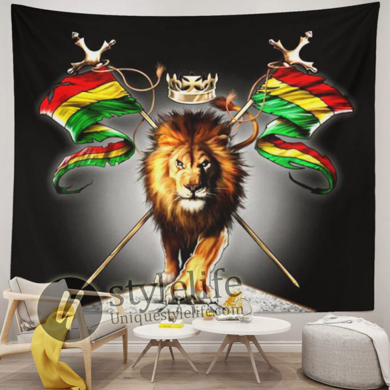 Rasta Flag King Lion Tapestry