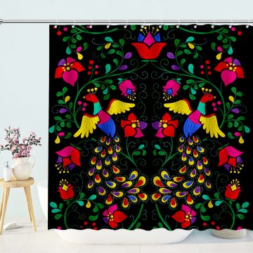 Rebirth Phoenix Flower Shower Curtain