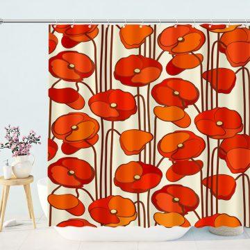 Red Floral Leaf Prints Shower Curtains