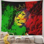 Reggae Rasta Flag Lion Tapestry with Crown King