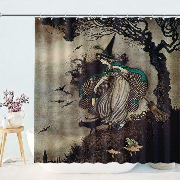 Halloween Witch Shower Curtain Retro Medieval Vintage Bathroom
