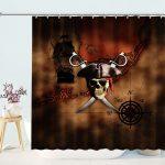 Roger Skull Pirates Map Shower Curtain