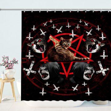 Satanic Cat Pentagram Shower Curtains