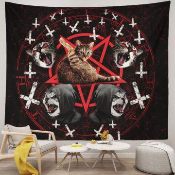 Satanic Cat Pentagram Death Black Metal Tapestry