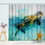 Sea Turtle Nautical Coastal Shower Curtain