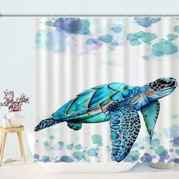Shower Curtain Sea Turtle Ocean Watercolor Home Bathroom