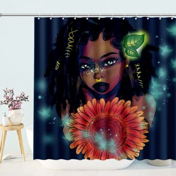 Sexy Afro African Girl Sunflower Shower Curtain