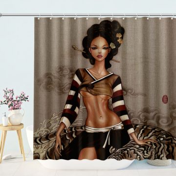 A beautiful sexy woman wearing this Japanese ensemble black woman shower curtain