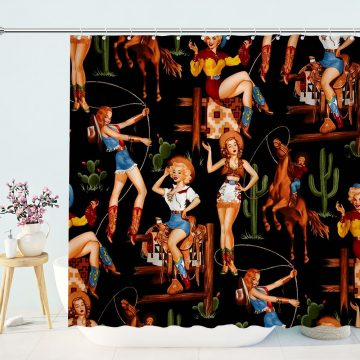 Sexy Western Girl Cowgirl Shower Curtain