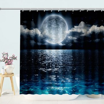 Silent Ocean Under Moon Shower Curtain