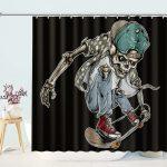 Skate of Skull Riding Skateboard Board Bathroom Curtains