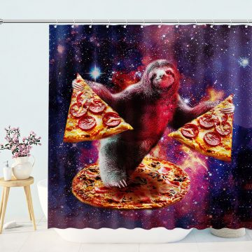 Sloth with Pizza in Galaxy Shower Curtain