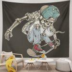 Tapestry Skate of Skull Riding Skateboard Board