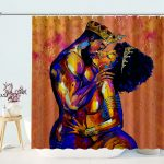 Up Close and Personal King and Queen Power Couple rich in vibrant colors shower curtain