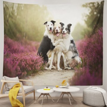 Three Cute Dogs Hugging Each Other Tapestry