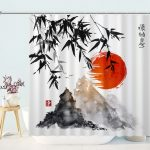 Traditional Japanese Ink Painting Shower Curtain