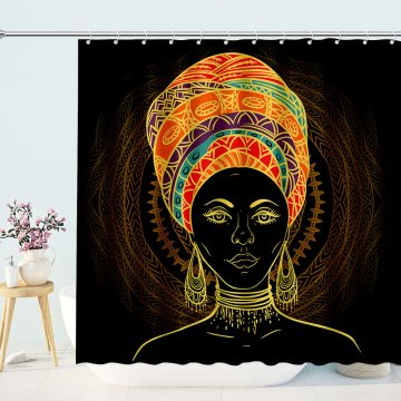 A tribal afro women Drawing using mandala art african american shower curtain