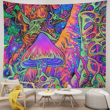 Trippy Mushroom Tapestry Psychedelic Wall Hanging