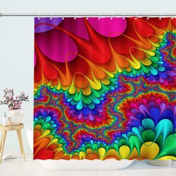 Trippy Painting Rainbow Shower Curtain