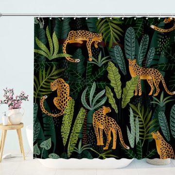 Tropical Jungle Leopards Shower Curtain