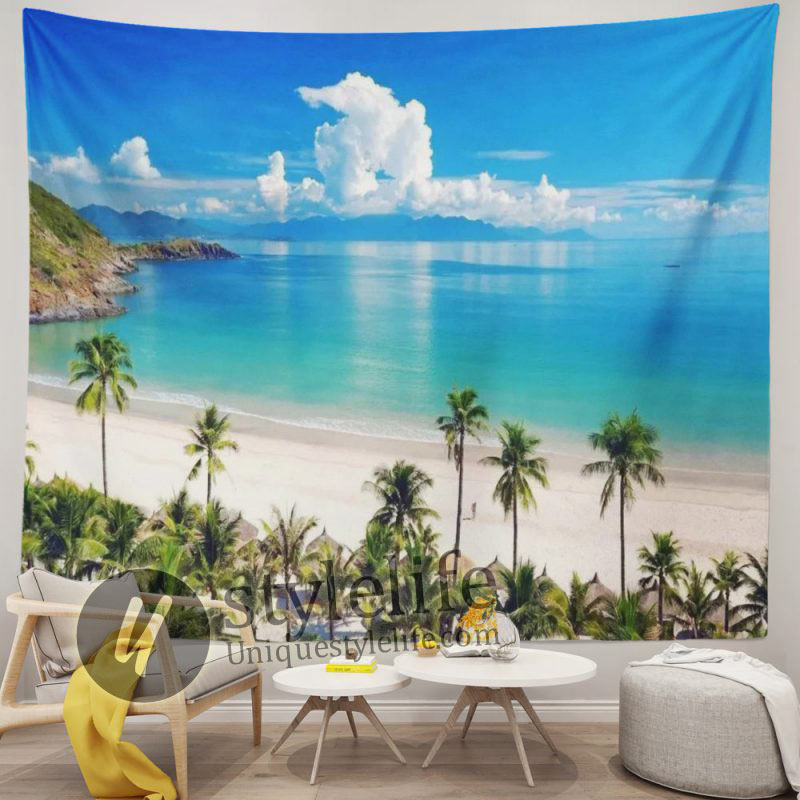 Tropical Ocean Sea Beach Island Palms Trees Tapestry