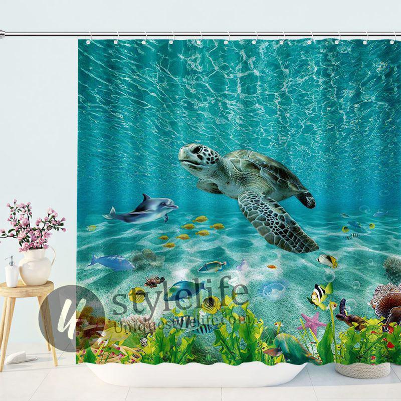 Tropical Ocean Turtle Shower Curtain
