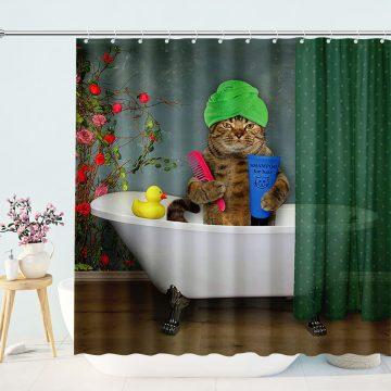 Cat In A Turban Takes A Bath Shower Curtains