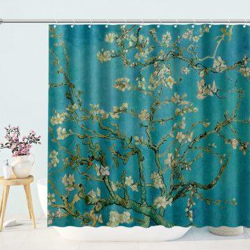 Van Gogh Blossom Vintage Fabric Shower Curtain