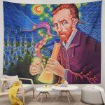 Van Gogh Oil Painting Smoking Art Design Hippie Tapestry