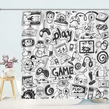 Video Games Black and White Shower Curtain