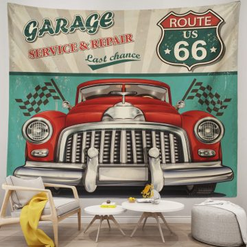Vintage Car Garage With Route 66 Wall Tapestry