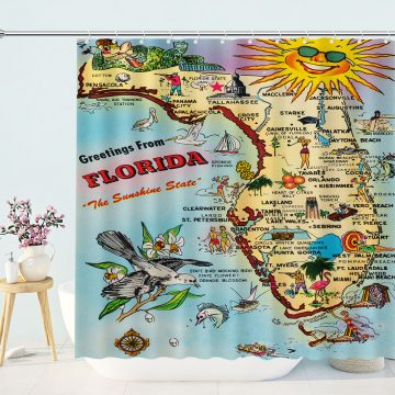 Vintage Florida Greetings Map Shower Curtain