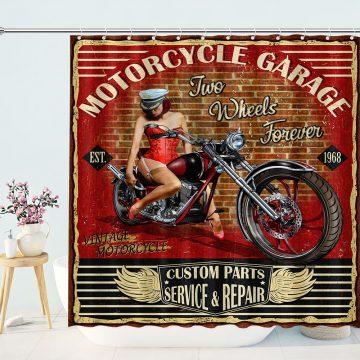 Vintage Motorcycle Garage Shower Curtains for Bathroom