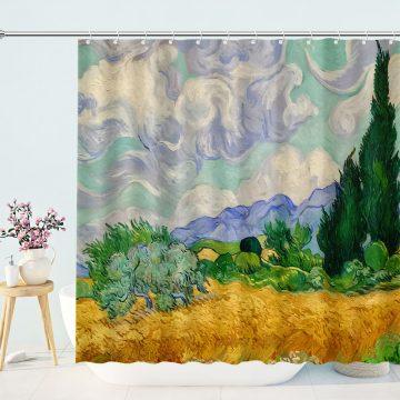 Watercolor LandscapeArt Shower Curtain