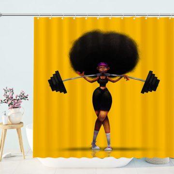 Weightlifter Black Girl Shower Curtain