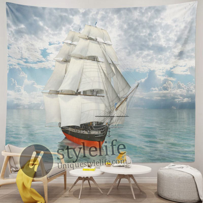 White Canvas Boat in Ocean Nautical Tapestry