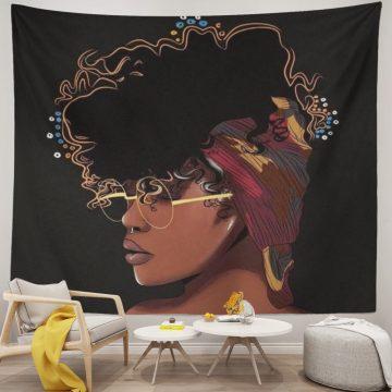 Women African American Tapestry Wall Art Hippie