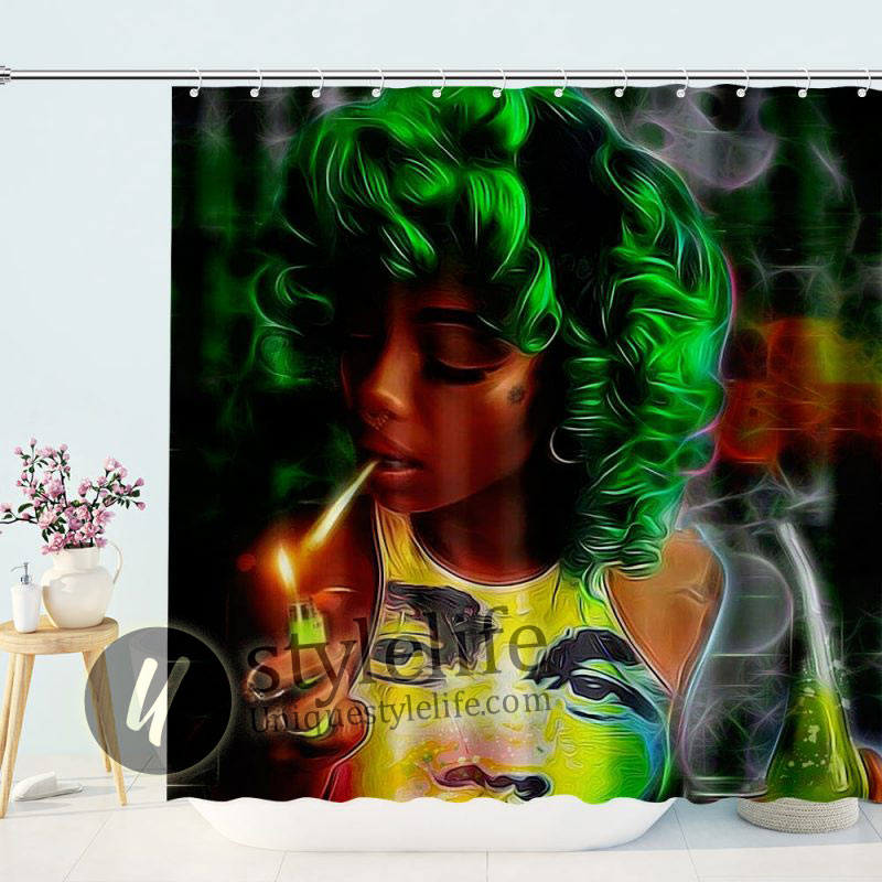 Women Beauty Sexy Lovely Black African shower curtain
