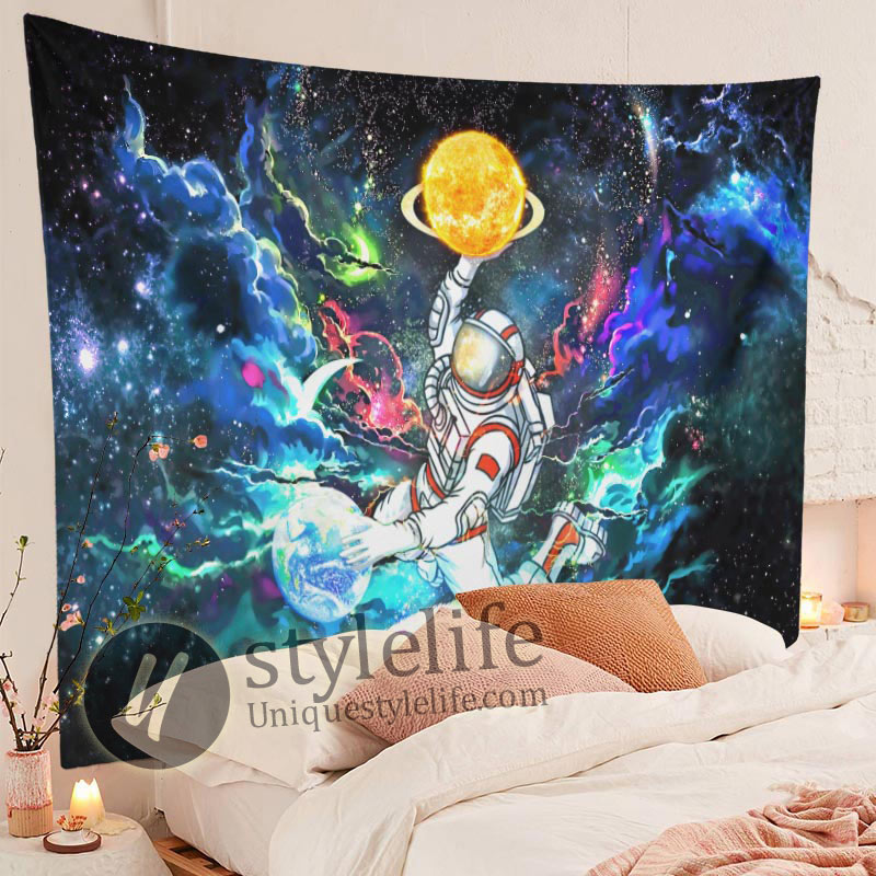 Astronaut Space Tapestry Trippy Galaxy