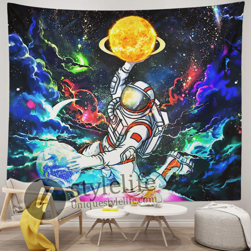 Astronaut Space Tapestry Trippy Galaxy Planet Wall Art for Home Decorations