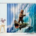 Funny Bear With Gun Riding Shark Shower Curtain