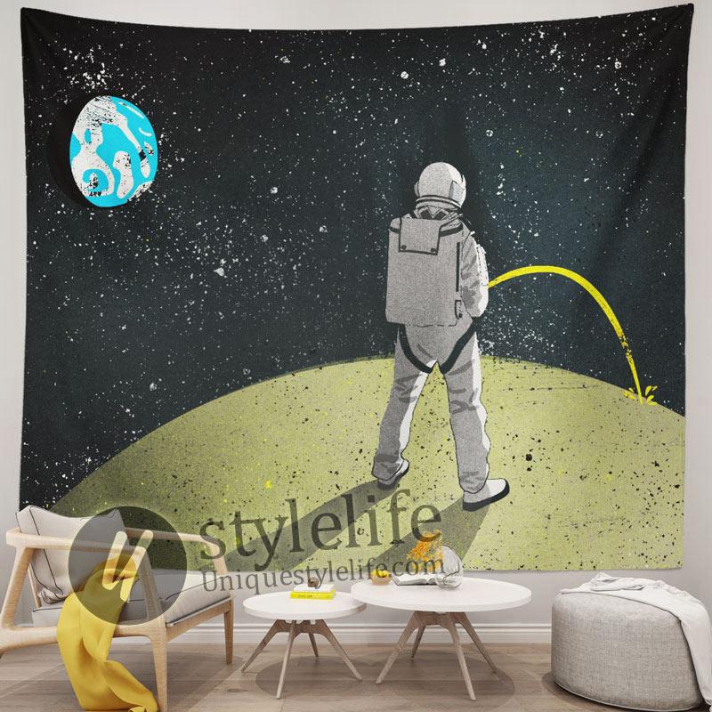 Astronaut Peeing on The Moon Headboard Tapestry